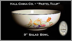 "Hall China Pastel Tulip 9"" Salad Bowl"