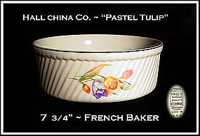 "Hall China Pastel Tulip 8"" French Baker"
