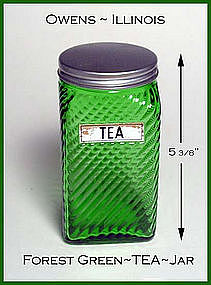 Owens Illinois ~ Forest Green Ruff N' Ready TEA Jar
