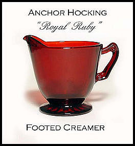 Hocking Glass Royal Ruby Footed Creamer ~ Mint!