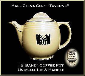 Hall Unusual Art Deco 1950's Taverne 5 Band Coffee Pot