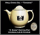 Hall Unusual Art Deco 1950's Taverne 5 Band Coffee Pot