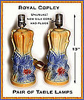 2 Royal Copley Large Floral Table Lamps~Rare!