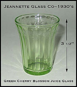 Jeannette Glass Green Cherry Blossom Flat Juice Tumbler