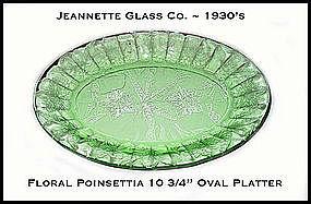 """Jeannette~Floral Poinsettia Green 10 3/4"""" Oval Platter"""