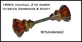 1930's Paneled Amber Glass Interior Door Knobs