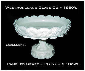 "Westmoreland Paneled Grape PG 57 Stemmed 9"" Bowl"