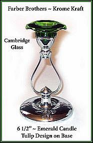 Cambridge Farber Bros Emerald Krome Kraft Tall Candle