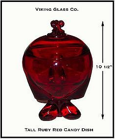 Viking Glass Co. ~ Dark Ruby Red Tall Candy & Cover