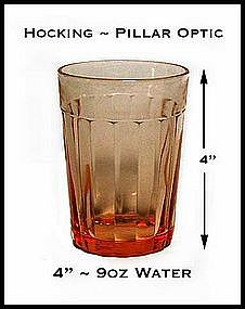 "Hocking Pillar Optic Pink 4"" Water Glass ~ 1930's"