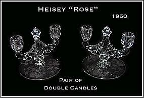 Heisey Rose Pair of Double Candle Holders
