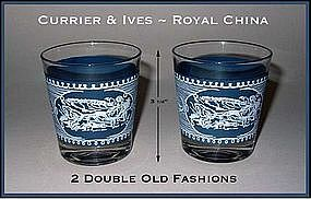 Currier & Ives Royal China Double Old Fashion Glasses