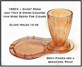 McKee or Jeannette Guest Room Ash Tray and Tumbler