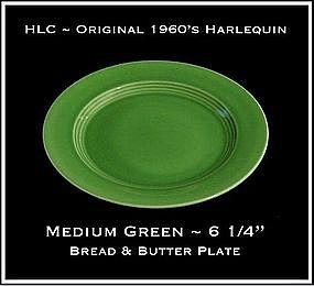 "HLC Harlequin Orig 1950's Medium Green 6"" B & B Plate"