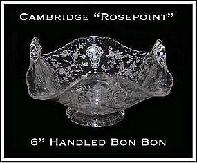 Cambridge Glass Rosepoint 2 Handled Flip Edge Bon Bon