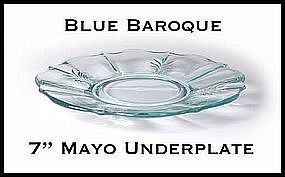 "Fostoria Blue Baroque 7"" Mayo Under/Plate~Excellent!"