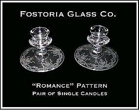 "Fostoria ""Romance"" Pair of Single Candles"