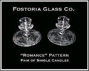 "Fostoria ""Romance"" Pair of Single Candles"