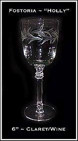 "Fostoria ""Holly"" 3 1/2 oz Stemmed Wines ~ HTF"