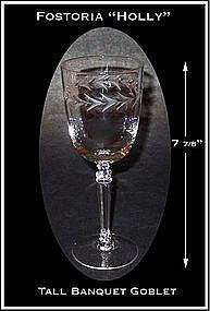 "Fostoria ""Holly"" Tall Stemmed 10oz Water Goblets"