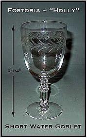"""Fostoria """"Holly"""" Short 9 oz Water Goblet ~ 6 1/4"""" Tall"""