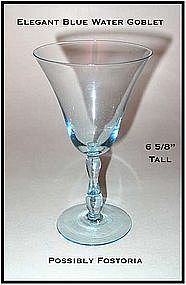 Fostoria Blue 9 oz Water Goblets W/Blue Stem