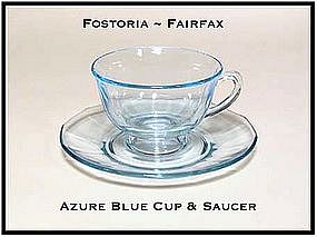 Fostoria Fairfax Azure Blue Cup and Saucer