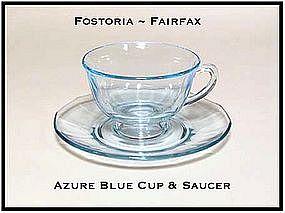 Fostoria Fairfax Azure Blue Cup and Saucer