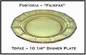 "Fostoria Fairfax Topaz Yellow 10 1/4"" Dinner Plate"