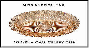Miss America Pink 10 Inch Oval Celery Dish