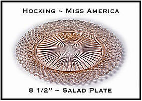 "Miss America Pink 8 1/2"" Salad/Luncheon Plate"