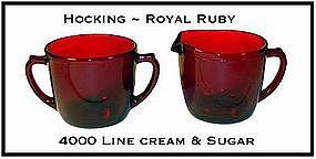 Fire King Royal Ruby 4000 Line Creamer and Sugar