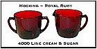 Fire King Royal Ruby 4000 Line Creamer and Sugar