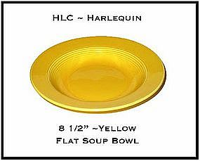 "HLC Harlequin Screaming Yellow 8 1/2"" Flat Soup Bowl"