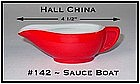 Hall China Chinese Red Small Restaurantware Sauce Boat