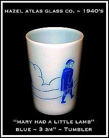 Hazel Atlas Childs Blue~Mary Had A Little Lamb~Tumbler