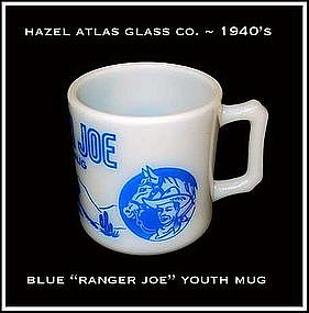 "Hazel Atlas Childs Blue Cowboy's ""Ranger Joe"" Mug"
