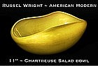 "Russel Wright Chartreuse 11"" Salad Serving Bowl"