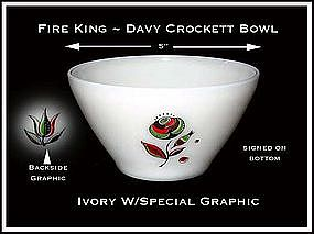 Fire King ~ Davy Crockett Bowl ~ Unusual Decoration