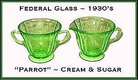 "Federal Glass ""Parrot"" Creamer and Sugar Set"