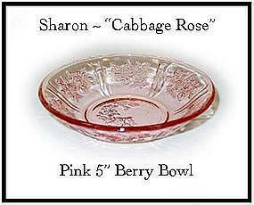 "Federal Glass Pink Sharon ~ Six - 5"" Berry Bowl-All"