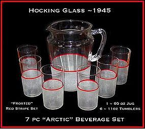 Hocking ~ 1932 ~ Arctic 7pc Red Stripe Beverage Set