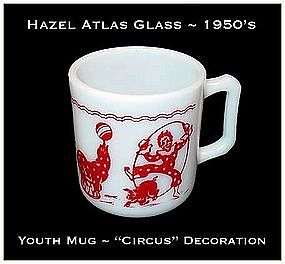 Hazel Atlas Glass Co. ~ 1950's ~ Youth Mug ~ Circus Dec