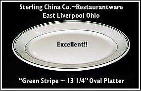 """Restaurantware~Green Stripe~Unusual 13"""" Platter"""