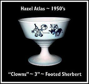 "Hazel Atlas Childs Blue~""Clowns""~Footed Sherbert"