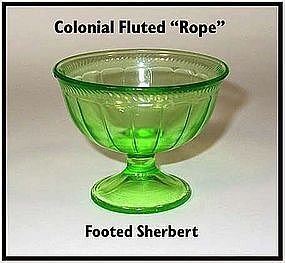 Federal Glass ~ Colonial Fluted Rope Footed Sherbet