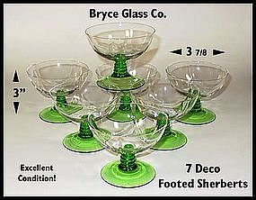 Bryce Glass Co. ~ 7 Deco Stem Footed Dessert Sherberts