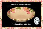 "Franciscan Desert Rose~Lg 9"" Round Vegetable Bowl"