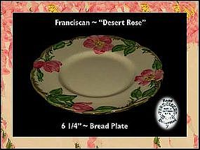 "Franciscan Desert Rose~6"" Bread and Butter Plates"