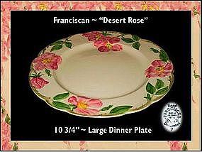 """Franciscan Desert Rose ~ 10 1/2"""" Dinner Plate"""